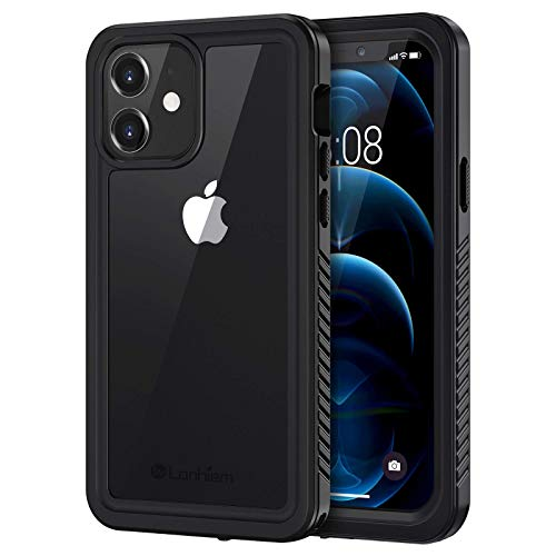 Lanhiem iPhone 12 Case, Waterproof Dustproof Shockproof Case with Built-in Screen Protector [Not for iPhone 12 Pro], Full Body Underwater Protective Cover for iPhone 12 6.1 inch -Black