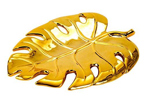 Lifestyle & More Moderne Dekoschale Obstschale Schale Blatt aus Porzellan Gold 21x16 cm