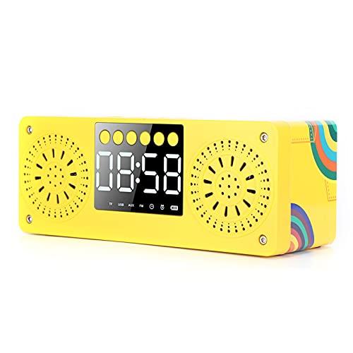 Jectse Altavoz Bluetooth, Mini Altavoz de Madera Inalámbrico Portátil, Sonido de Reloj, Altavoz de Tarjeta Enchufable para Exteriores de Contrabajo, Radio, Reloj, Despertador(Amarillo)