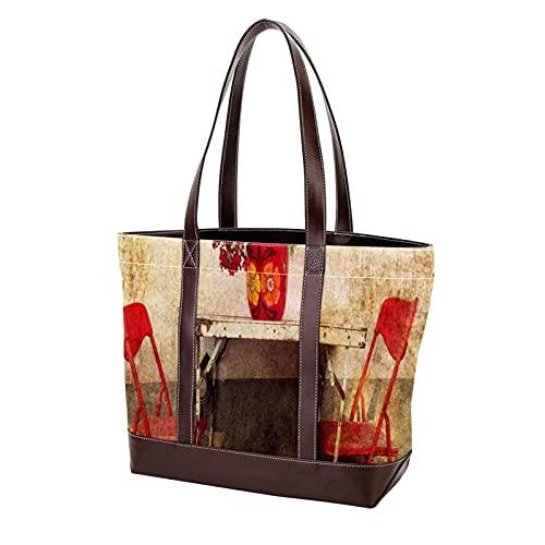 NaiiaN Einkaufstasche Handtaschen Stuhl Blume Leichter Riemen für Mutter Frauen Mädchen Damen Student Umhängetaschen Geldbörse Einkaufen