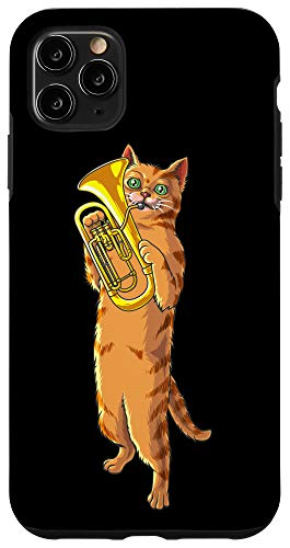 iPhone 11 Pro Max Funny Cat Playing Euphonium | Cool Love Animal Musician Gift Case