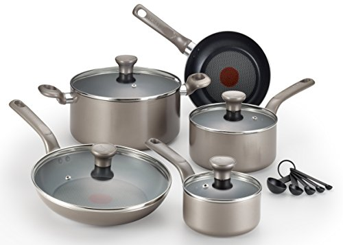 T-fal C508SE Excite Nonstick Thermo-Spot Dishwasher Safe Oven Safe Cookware Set, 14-Piece, Gold