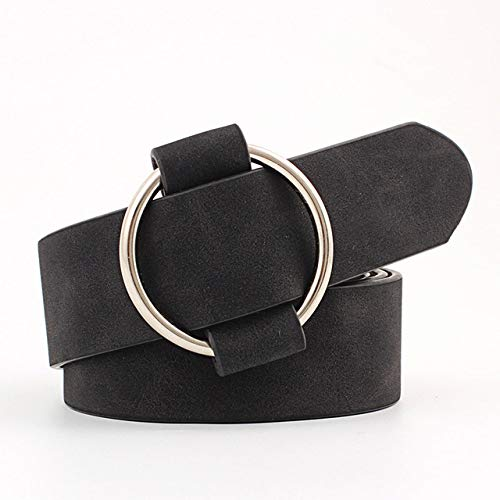 ZXMDP Moda para Mujer de Calidad Genuina Lo último en cinturón de Hebilla Redonda de Metal sin Aguja Jeans Wild Luxury The Women Belt For, 4,105cm