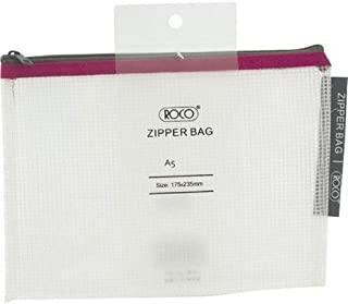 Roco RQ-FB8066PNK A5 Topload Opening Document Pouch, Clear-Pink Accent