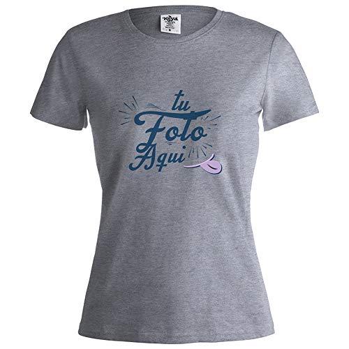 PROMO SHOP Camiseta Personalizada Mujer (Foto o Logo) Gris · Manga Corta/Talla M · 100% Algodón · Impresión Directa (DTG) · Estas Camisetas Personalizas Se Imprimen Directamente sobre el Tejido