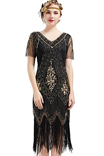 ArtiDeco - Vestido de mujer estilo años 20 con mangas cortas, disfraz de Gatsby para fiestas temáticas negro y dorado M-36/38/40
