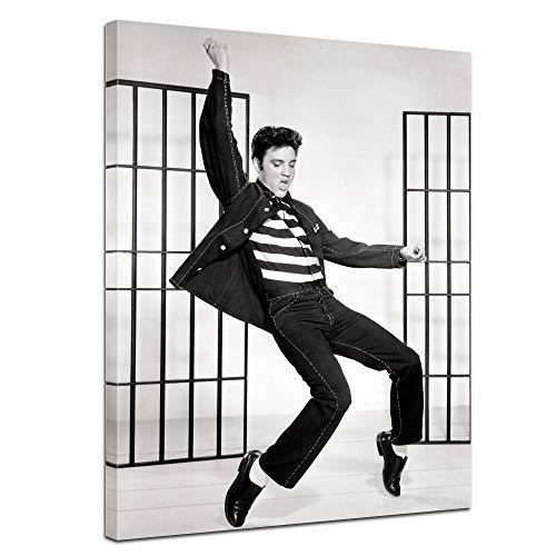 Wandbild Elvis Presley I - 60x80cm hochkant - Leinwandbild Kunstdruck Bild auf Leinwand Foto - Berühmtheiten & Zeitgeschichte