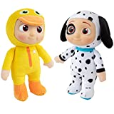 CoComelon JJ Duckie & Puppy Plush Stuffed Animal Toys, 2 Pack - 8
