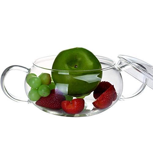 JINGMAI Cacerola De Vidrio, Transparente Borosilicato Cacerola De Cristal, Hecho A Mano con La Manija Olla De Vidrio para Colocación Verduras, Fruta (Color : Transparent, Size : 1.4L)