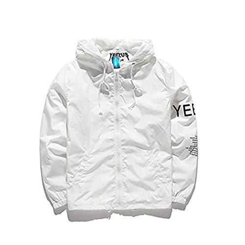 Uni-Wert Windjacke Herren, Fashion Windbreaker Kapuzenjacke Streetwear Jungen Jacke Unisex Reißverschluss Jacke, Herbst Frühling, XL, Weiß