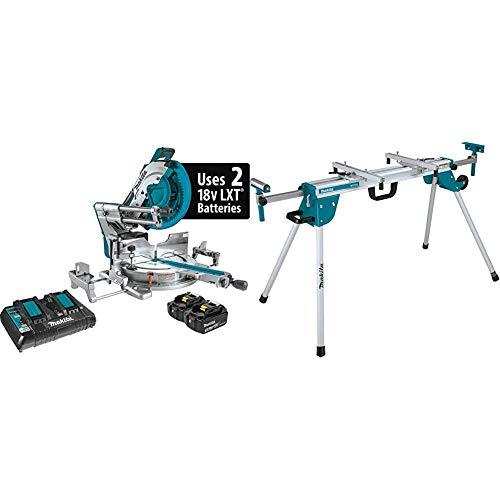 Makita XSL08PT 18V X2 LXT Lithium-Ion (36V) Brushless Cordless 12 Inch Dual-Bevel Sliding Compound Miter Saw Kit, AWS Capable and Laser (5.0Ah) with WST06 Compact Folding Miter Saw Stand