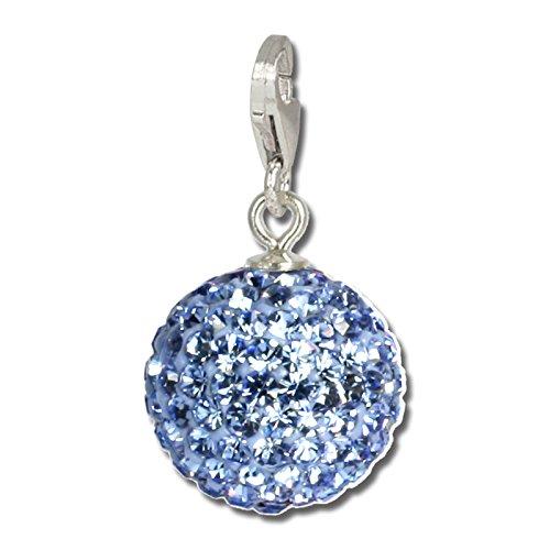 SilberDream Glitzer Charm Swarovski Kristalle Kugel hellblau SHINY Anhänger 925 Silber für Bettelarmbänder Kette Ohrring GSC218H
