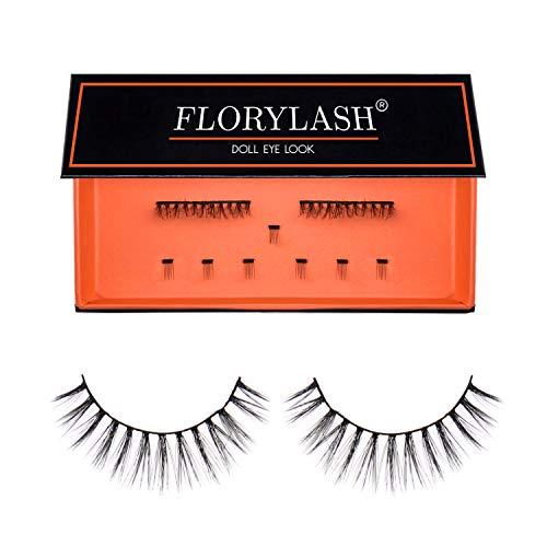 FLORYLASH®   Doll Eye Look - Magnetische Wimpern 3 Magnete Natürlich Magnetic Fake Lashes ohne Eyeliner 3D Volumen Set Wiederverwendbar (Größe M, 28 mm breit)