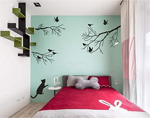 GVFTG kat wil vangen de vogel in de boom Vinyl muur Decal Home Decor DIY Art muurschildering verwijderbare muurstickers 89X74cm