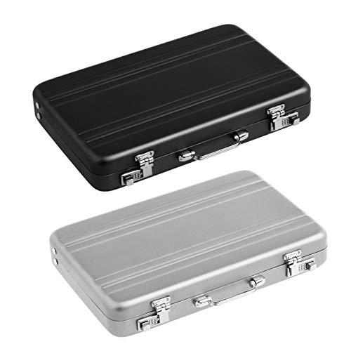 Caja de la tarjeta de contraseña de aluminio 2 unids Mini Maleta Maletín Maletín de plata Negro 9.5cm * 6cm * 1.5cm (Color : Black+Silver)