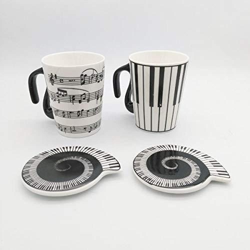 ZYZED Cup Muziek Cup Personeel Opmerkingen Piano Toetsenbord Keramische Cup Porselein Cup Koffie Caneca met Cover Creatief geschenk Note