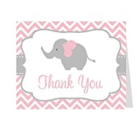 Baby Shower Thank Youカード、シェブロンストライプゾウの、複数の色の選択肢、50のセットThank You Notes With Envelopes、 ピンク