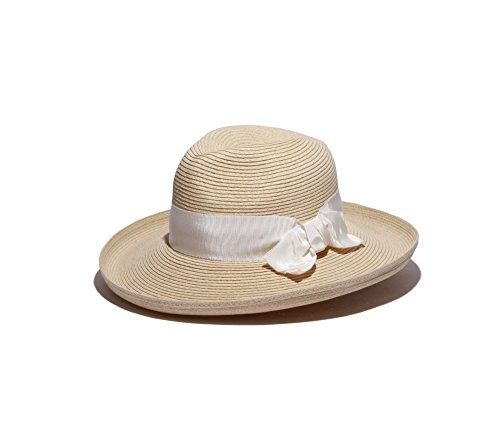 Physician Endorsed Women's Adriana Toyo Straw Fedora Packable Sun Hat, Rated UPF 50+ for Max Sun Protection, Natural/White, One Size