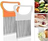 Onion Holder Slicer Cutter Chopper - Tomato Vegetable Lemon Potato Cutter Slicer Odor Remover (Yellow+White 2pcs per set)