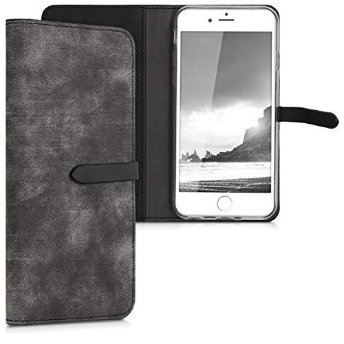 kwmobile Funda para Apple iPhone 6 / 6S - Carcasa de Cuero sintético con Soporte - Case con Cierre en Antracita