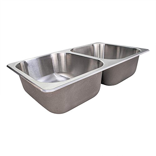 """RecPro RV Stainless Steel Sink   27x16x17""""   Double RV Kitchen Sink   RV Sink   Camper Sink   Double Bowl Sink"""