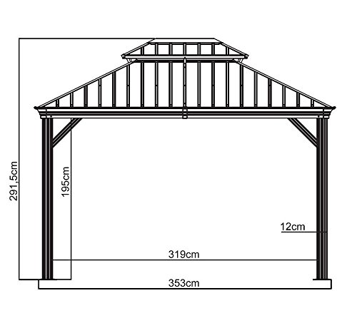 Sojag Messina Hard Top Gazebo Dimensions
