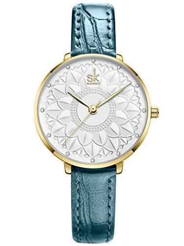 Alienwork Reloj Mujer Oro Pulsera de Cuero Azul Blanco Strass Elegante Pequeña