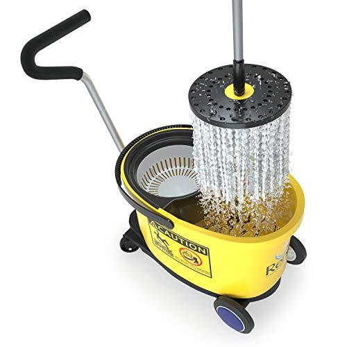 René™ Spin Mop Papa Commercial With Dolly Wheels - Heavy Duty Spin Mop &...
