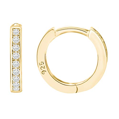 14k Gold Plated Sterling Silver Cubic Zirconia Small Cartilage Hoop Huggie Cuff Earring Stud - Small