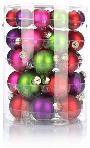com-four® 44x Christbaumkugel in verschiedenen Größen - Weihnachtskugel für den Weihnachtsbaum - Christbaumschmuck aus Glas (44-teilig - bunt)
