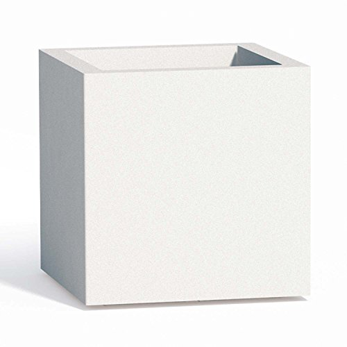 Tkm Vaso Cube in Resina Quadrato H40 Bianco 40x40Cm