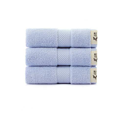 Toalla de baño 100% algodón súper suave de alta absorción con turbante toalla de playa toalla de niños toalla de cara para adultos 34 x 74 azul claro 3 paquetes