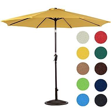 Sundale Outdoor 10 Feet Aluminum Market Umbrella Table Umbrella with Crank and Push Button Tilt for Patio, Garden, Deck, Backyard, Pool, 8 Steel Ribs (Yellow)