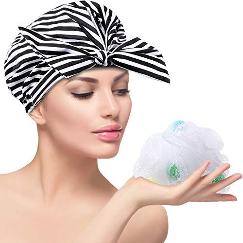 Gorro de Ducha Toalla de Pelo de Lazo para Mujeres, Gorra de Baño Impermeable y Reutilizable con Esponja de Malla de Baño (Rayas Negras y Blancas)