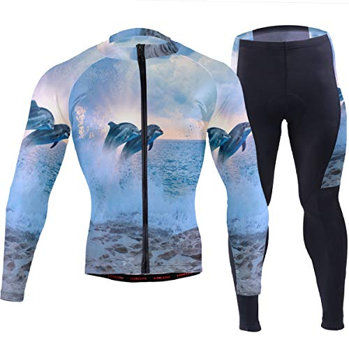SLHFPX Mens Cycling Jersey Ocean Wave Dolphin Full Sleeve Mountain Bike Shirt Pad Pants Set