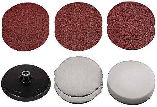 Original Einhell Polier-/Schleifset 150 mm (Ø150 mm, max. 3500 min-1, inkl. Teller, Schleifpapier 2x K120, 2x K80, 2x K60, 2 Polierhauben, 1 Schaumstoffaufsatz)
