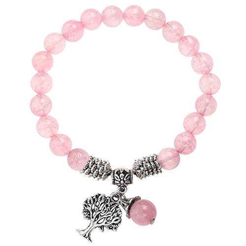 Jovivi 8mm Bracelet Quartz Rose Arbre de Vie Réglable Tressé à la Main Pierre Naturelle Précieuse Extensible Elastique Tibétin Bouddhiste Bijoux Bracelet Femme