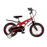 ZEMENG Bicicletas para niños, Bicicleta para niños con Ruedas auxiliares, Bicicletas de Acero Altos de Carbono para niños y niñas al Aire Libre,Rojo,16'