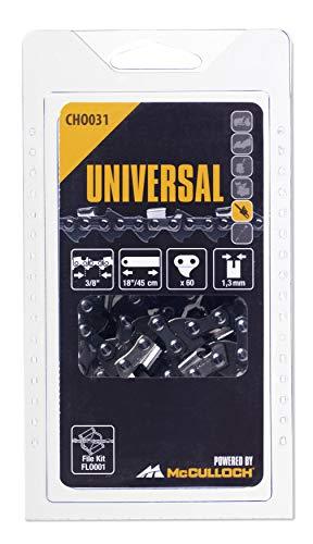 """Universal GM577615131 Cadena de sierra para motosierra, 18\""""/45cm 3/8\"""" 60p, optimo afilado, mantenimiento sencillo, accesorios McCulloch, Standard, 3/8x0.05pulgadas"""