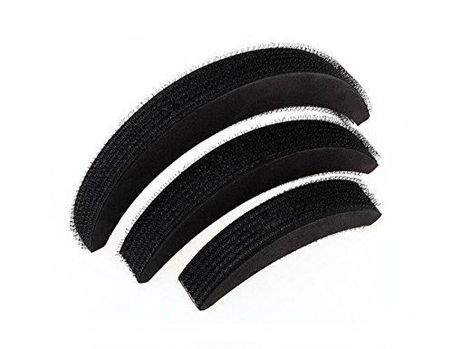 3 Schaumstoff-Haarkissen in Mondform (1großes, 1 mittelgroßes, 1kleines), schwarz, mehr Volumen, Haar-Accessoire , für Damen und Mädchen