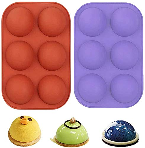 Semi Sphere Silicone Mold 2pc Cocoa Chocolate Bombs Molds for Chocolate, Candy, Cake, Jelly, Mousse Making (6-Cavity)