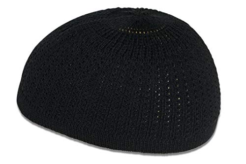 Muslim Bookmark Stretchy Elastic Beanie Kufi Skull Cap Hats Featuring Cool Designs and Stripes (Black w/Perforated Design)