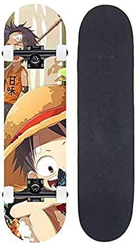 WWJ Scooter de Doble inclinación para Principiantes, Cuatro Ruedas, Arce, Joven, monopatín, Anime, una Pieza/Monkey D. Luffy, patineta de Baile, Cuatro Ruedas para Entretenimiento