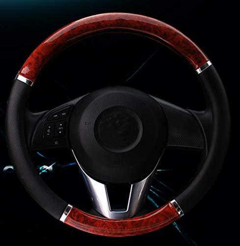 Couverture de volant de voiture moyen motif en lychee croissant de bois grain 15 pouces style voiture en bois noir