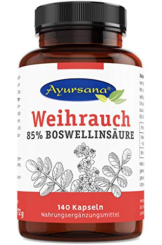 Weihrauch Kapseln (140 Stück) hochdosiert | Echter indischer Weihrauch (85 % Boswelliasäuren) | 800 mg Weihrauchextrakt je Tagesdosis, davon 660 mg Boswelliasäure | Apothekenqualität aus Deutschland