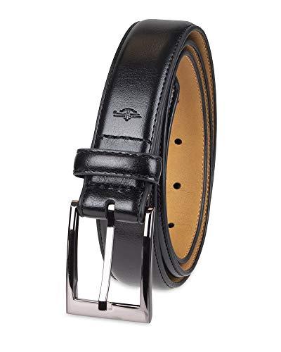 Dockers Men's Leather Dress Belt, Deep black, 38