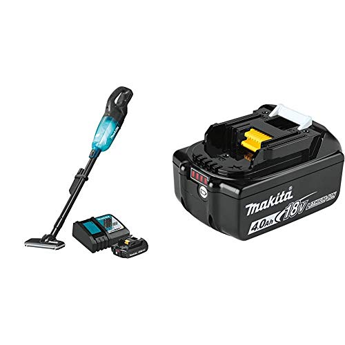 Makita XLC04R1BX4 18-Volt LXT Lithium-ion Compact Brushless Cordless 3-Speed Vacuum Kit, 2.0Ah with BL1840B 18-Volt 4.0Ah LXT Lithium-Ion Battery