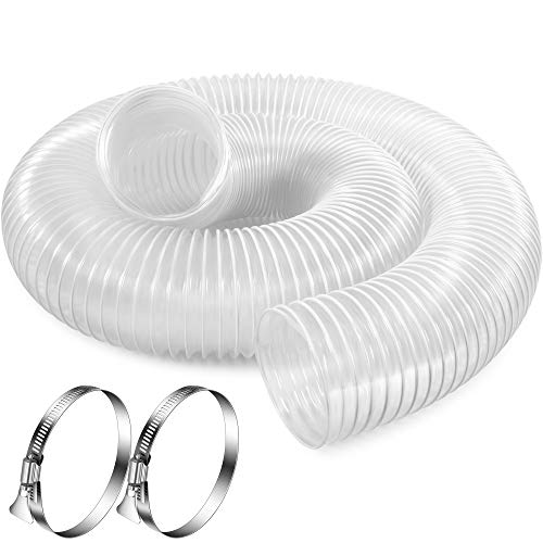4 Inch x 10 Feet Dust Collection Hose - Flexible Clear PVC Heavy Duty Puncture Resistant Dust Debris Fume Hoses - Reinforced With Coated Wire Helix