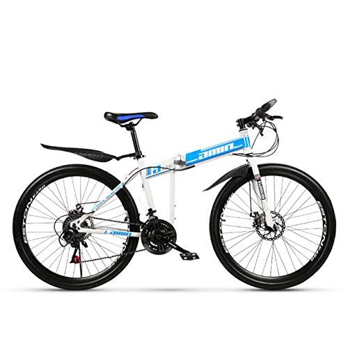QXue 24 Inches Mountain Bike for Men and Women, High Carbon Steel Dual Suspension Frame Mountain Bike, Variable Speed Spoke Wheel Folding Outroad Bike,Blue,27 Speed