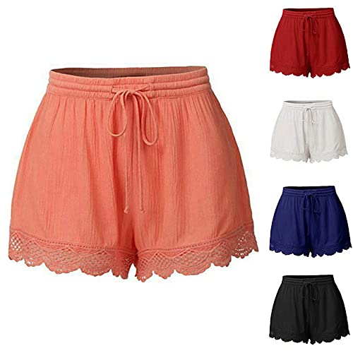 Shorts for Womens Summer Elastic High Waist Solid Color Casual Shorts Fashion Lace Tie Loose Yoga Sport Pants Orange